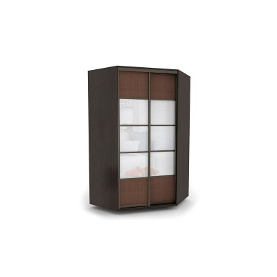 Шкаф-купе угловой ШКУ13 окрашенное стекло и экокожа