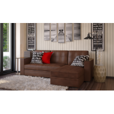 Диван угловой коричневый Атлант со столиком кожзам