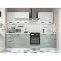 Кухня модульная Дуся белый бриллиант, цемент