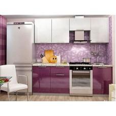Кухонный гарнитур Олива 2,1 м (Белый + Сирень)