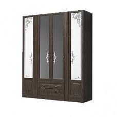 Шкаф 4-х дверный для платья и белья с выдвижными ящиками Ева-11