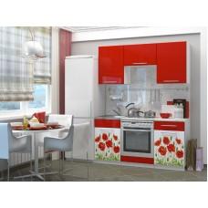 Кухонный гарнитур Маки 1,6 м с фотопечатью