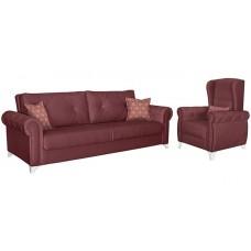 Комплект мягкой мебели Петра (вишневый/бордовый)