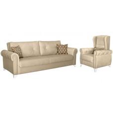 Комплект мягкой мебели Петра (бежевый/коричневый)