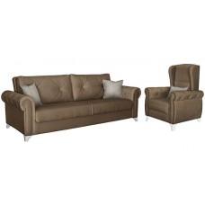 Комплект мягкой мебели Петра (темно-коричневый/коричневый)