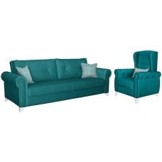 Комплект мягкой мебели Петра (сине-зеленый/бирюзовый)