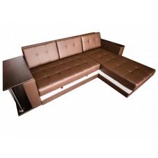 Диван Суфле со столиком кожзам коричневый