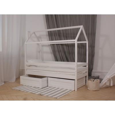 Кровать домик кд-5 1400х700 белая с ящиками яв-11