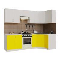 Гарнитур кухонный угловой Санвут ГКУ2900-5.5_10.1 Белый/белый/желтый,венге
