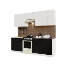 Гарнитур кухонный Санвут ГК2400-5.5_7.2 Белый/Черный, гренобль