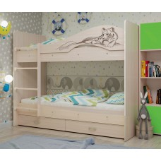 Двухъярусная кровать Мая Сафари дуб млечный