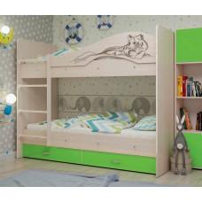Двухъярусная кровать Мая Сафари лайм