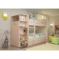 Двухъярусная кровать со шкафом Мая латофлексы дуб млечный