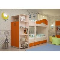 Двухъярусная кровать со шкафом Мая латофлексы оранж