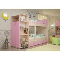 Двухъярусная кровать со шкафом Мая латофлексы розовый