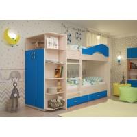 Двухъярусная кровать со шкафом Мая латофлексы синий
