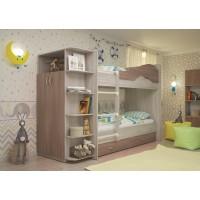 Двухъярусная кровать со шкафом Мая латофлексы ясень