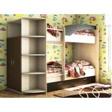 Двухъярусная кровать с ящиками Волна-Мая со шкафом