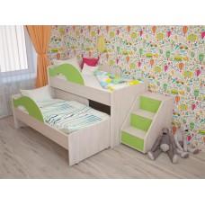 Кровать 2-х ярусная выкатная с ящиком и лестницей Радуга