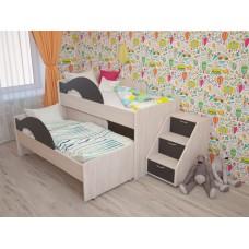 Кровать 2-х ярусная выкатная с ящиком и лестницей Радуга венге