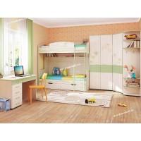 Детская Акварель 1 с двухъярусной кроватью и угловым шкафом