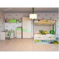 Детская Акварель 23 с двухъярусной кроватью и рабочей зоной